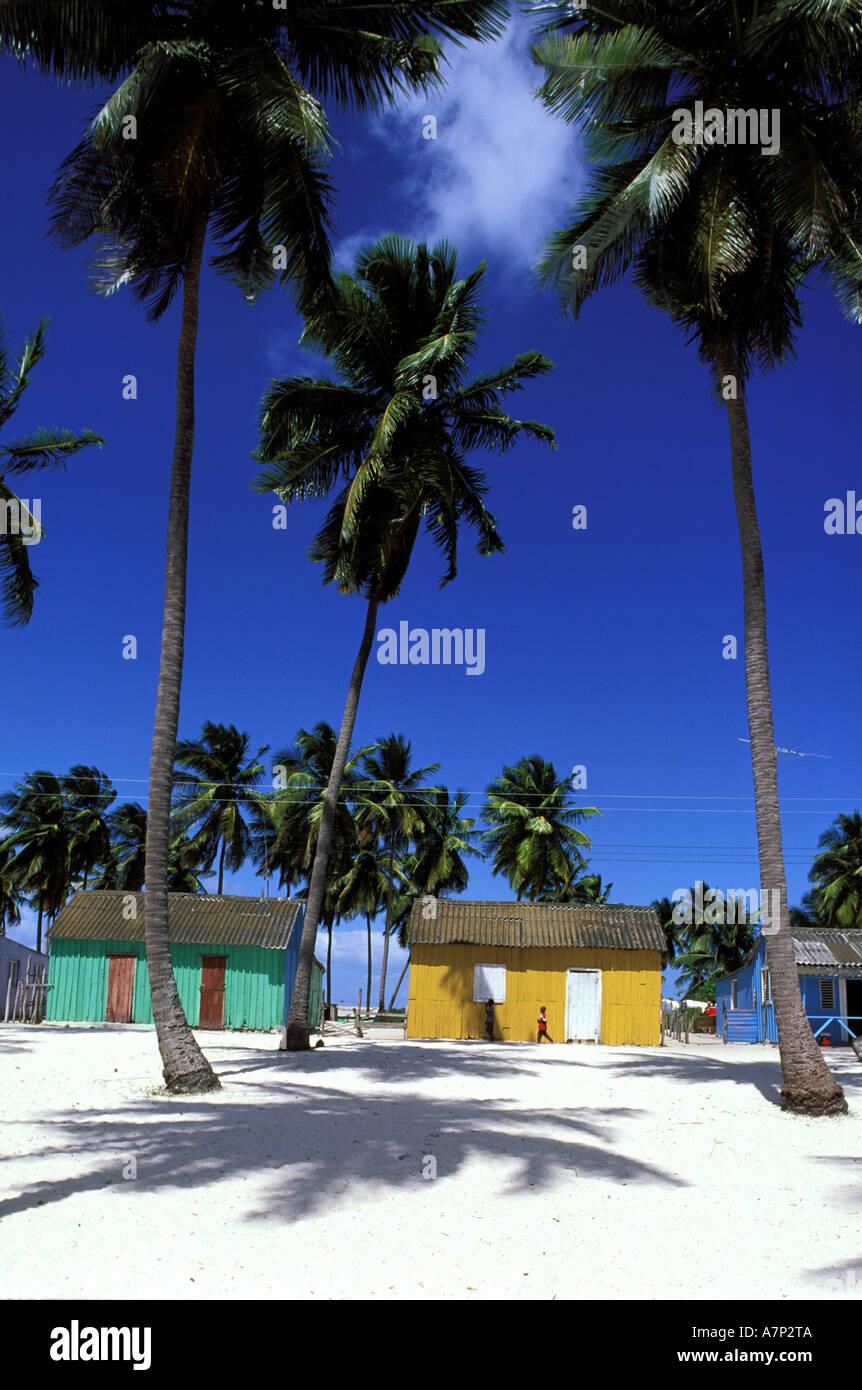 Repubblica Dominicana, Saona Island, Mano Juan, villaggio di pescatori Immagini Stock