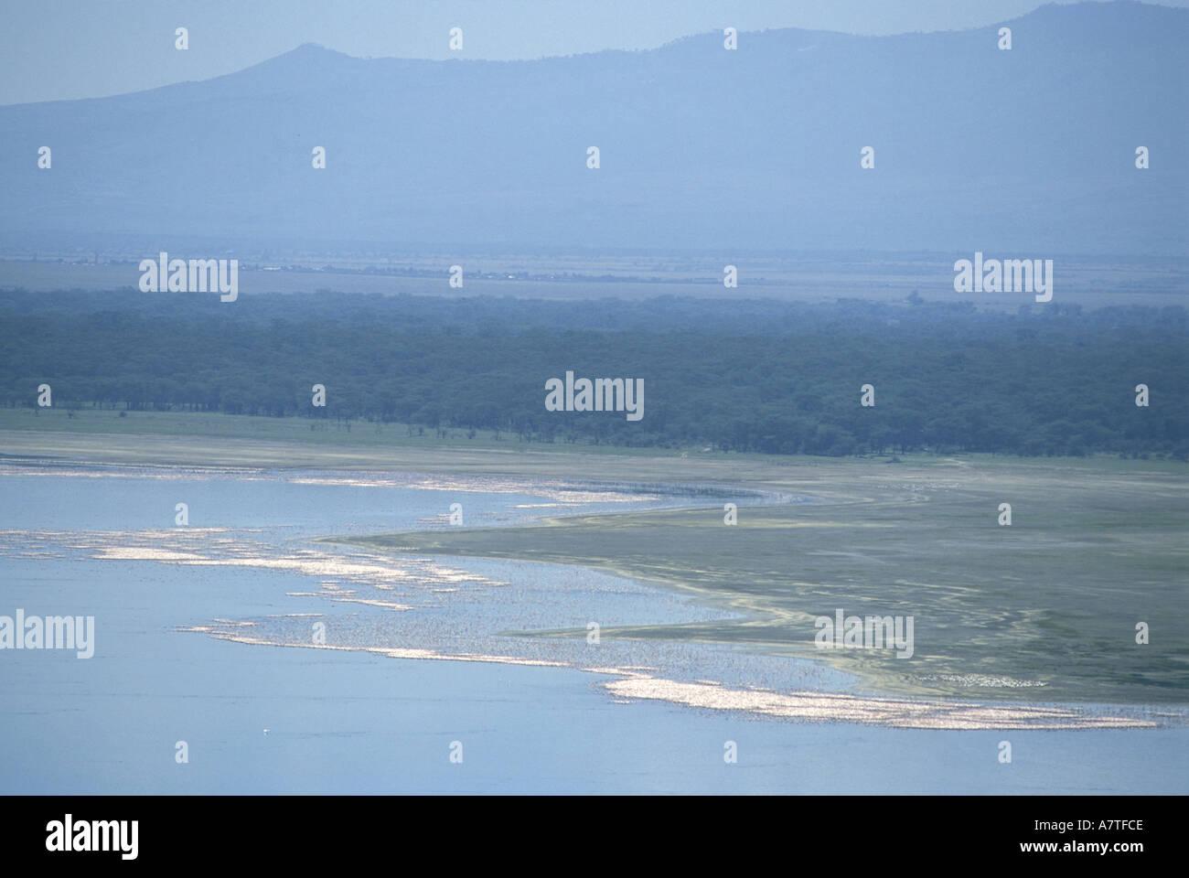 Teleobiettivo con colpo di Lake Nakuru visto da scogliere di babbuino Kenya Africa orientale Immagini Stock