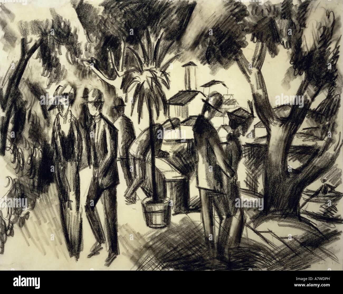 """Belle arti, Macke, Agosto (1887 - 1914), 'Spaziergänger im Park"""", disegno a carboncino, 1913, 31x39 Immagini Stock"""