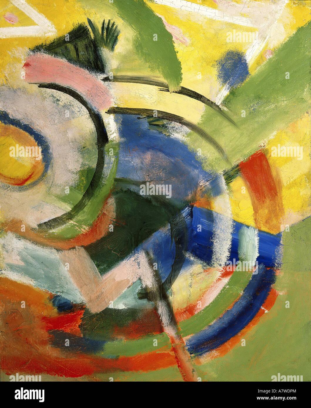 "Belle arti, Marc Franz (1880 - 1916), ""Kleine Komposition IV"", pittura, 1914, Franz Marc Museum, Kochel am See, Foto Stock"