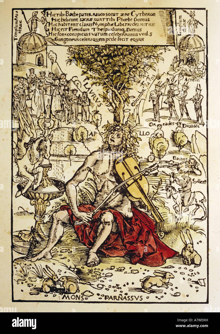 Musica, Musicisti, Apollo come violin player sul monte Parnaso, titolo di libro 'Melpoeaa sive harminae tetracenticae Immagini Stock