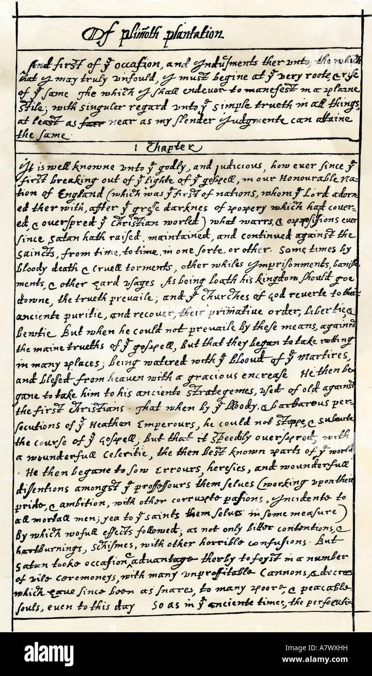 Prima pagina manoscritta del governatore William Bradford Storia della Piantagione Plimoth primi 1600s. Xilografia Immagini Stock