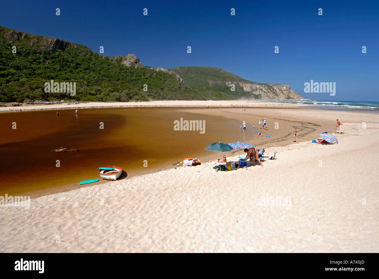 Famiglie suntanning e balneazione lungo il Tagliamento a la natura della Valle sulla Garden Route del Sud Africa. Immagini Stock