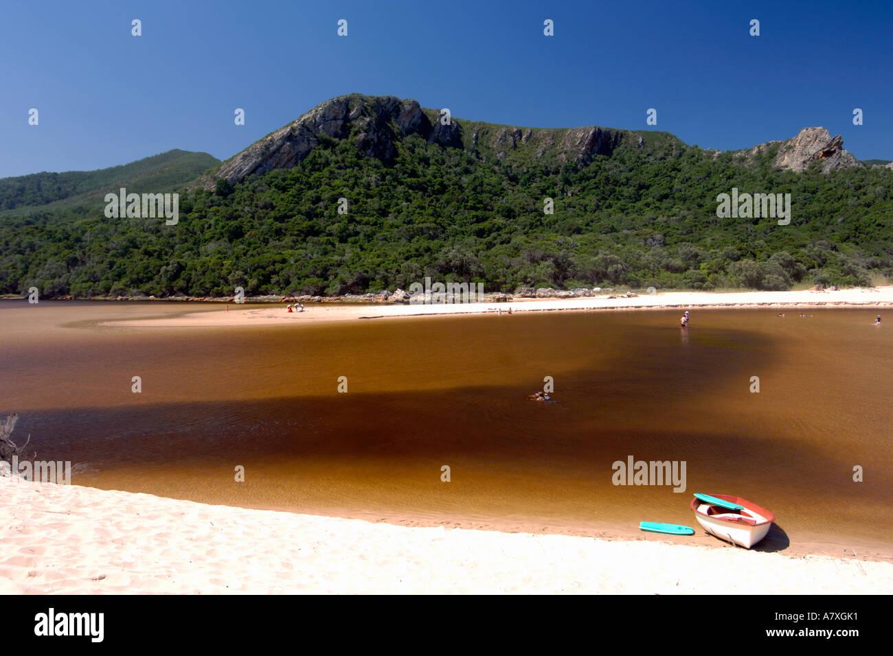 Piscina per bambini nel estuario presso la natura della Valle sulla Garden Route del Sud Africa. Immagini Stock