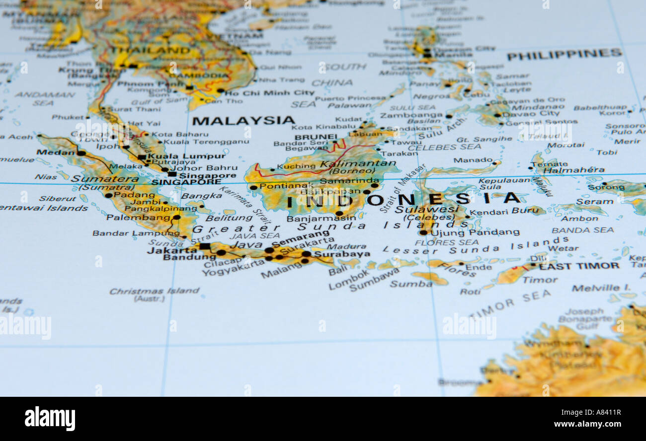Cartina Geografica Dell Indonesia.Mappa Di Indonesia Foto Stock Alamy