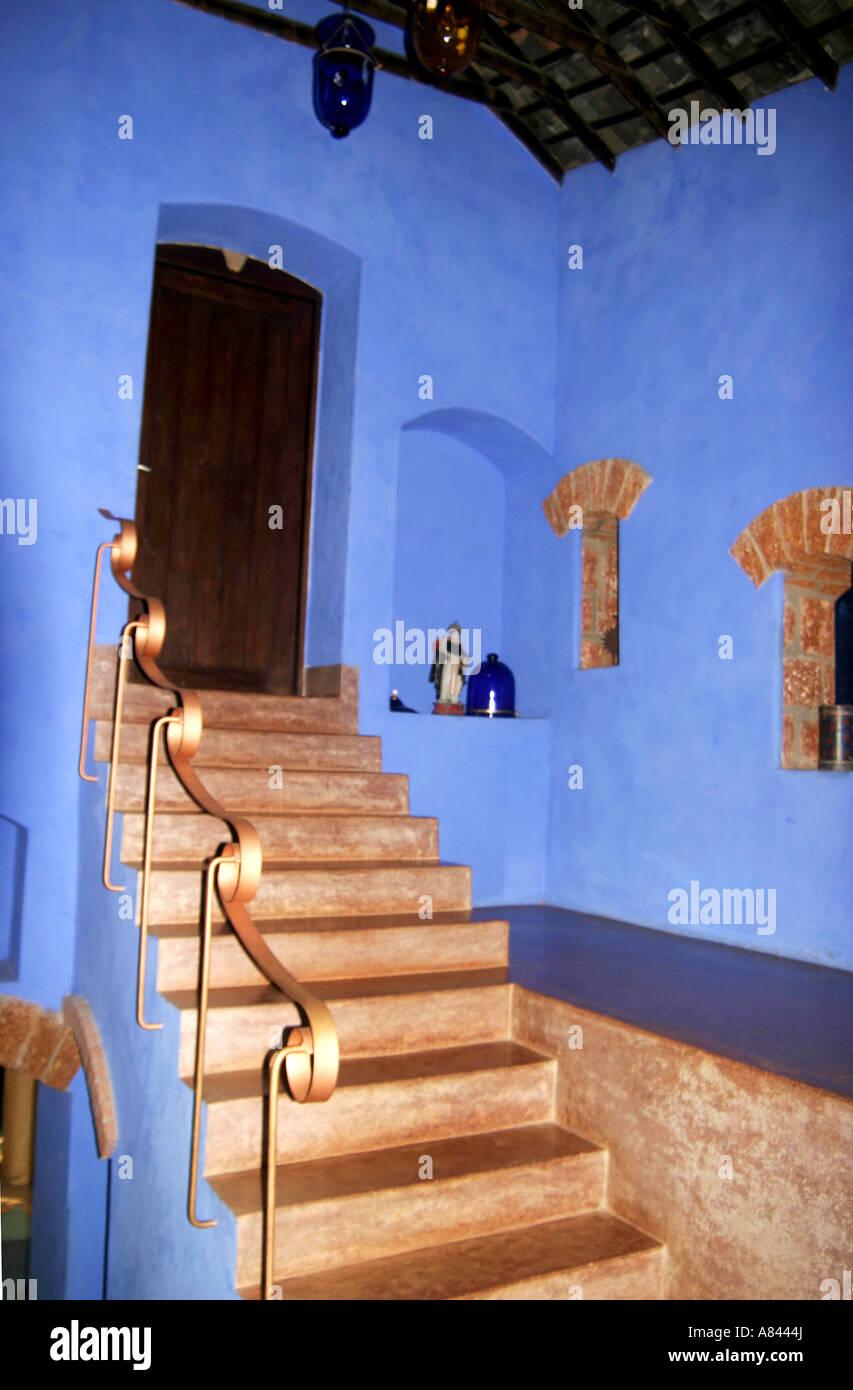 Dettaglio del corrimano in modo spettacolare progettato Nilaya Hermitage boutique hotel in Goa in India Immagini Stock