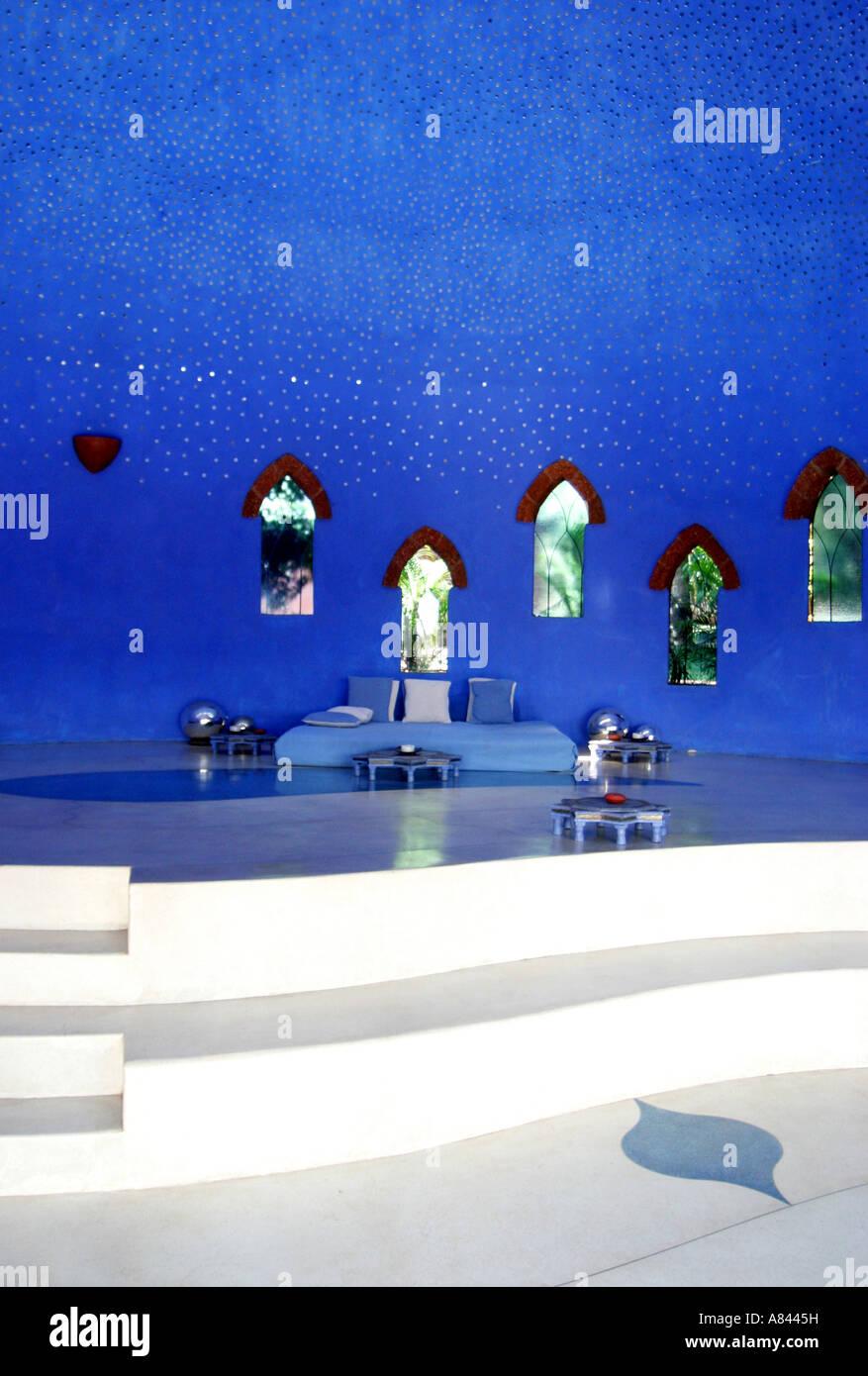 Dettaglio della zona di ricevimento del spettacolarmente progettato Nilaya Hermitage boutique hotel in Goa in India Foto Stock