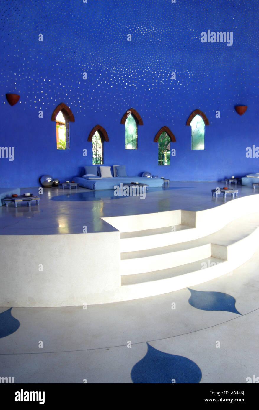 Sala relax con 'star'' soffitto a spettacolarmente progettato Nilaya Hermitage boutique hotel in Goa Immagini Stock
