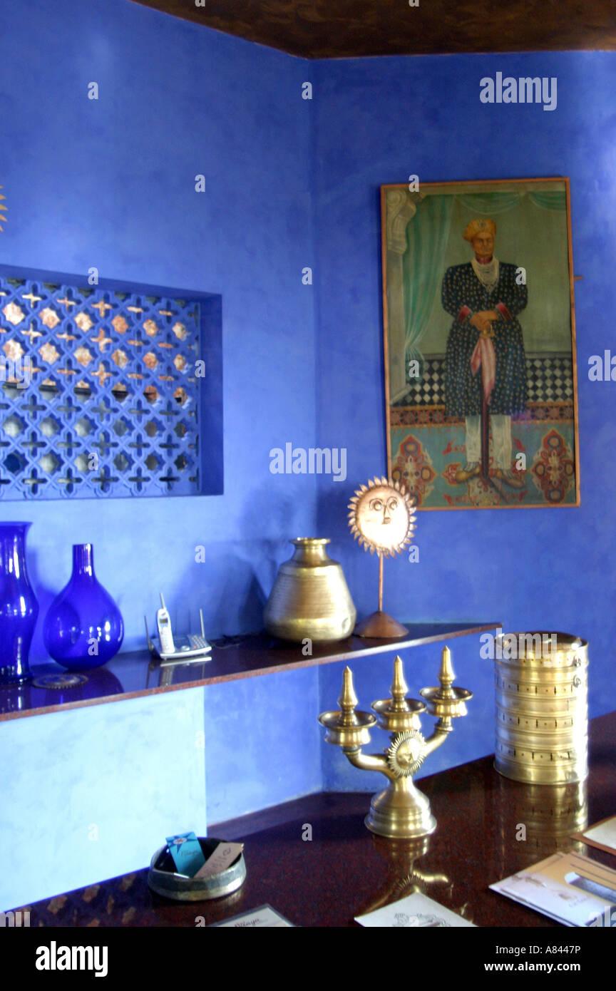 La ricezione del progettato in modo spettacolare Nilaya Hermitage boutique hotel in Goa in India Immagini Stock