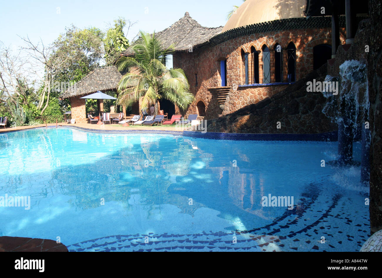 Palm tree frame che la piscina a forma libera con gli spettacolari designer Nilaya Hermitage boutique hotel in Goa Immagini Stock