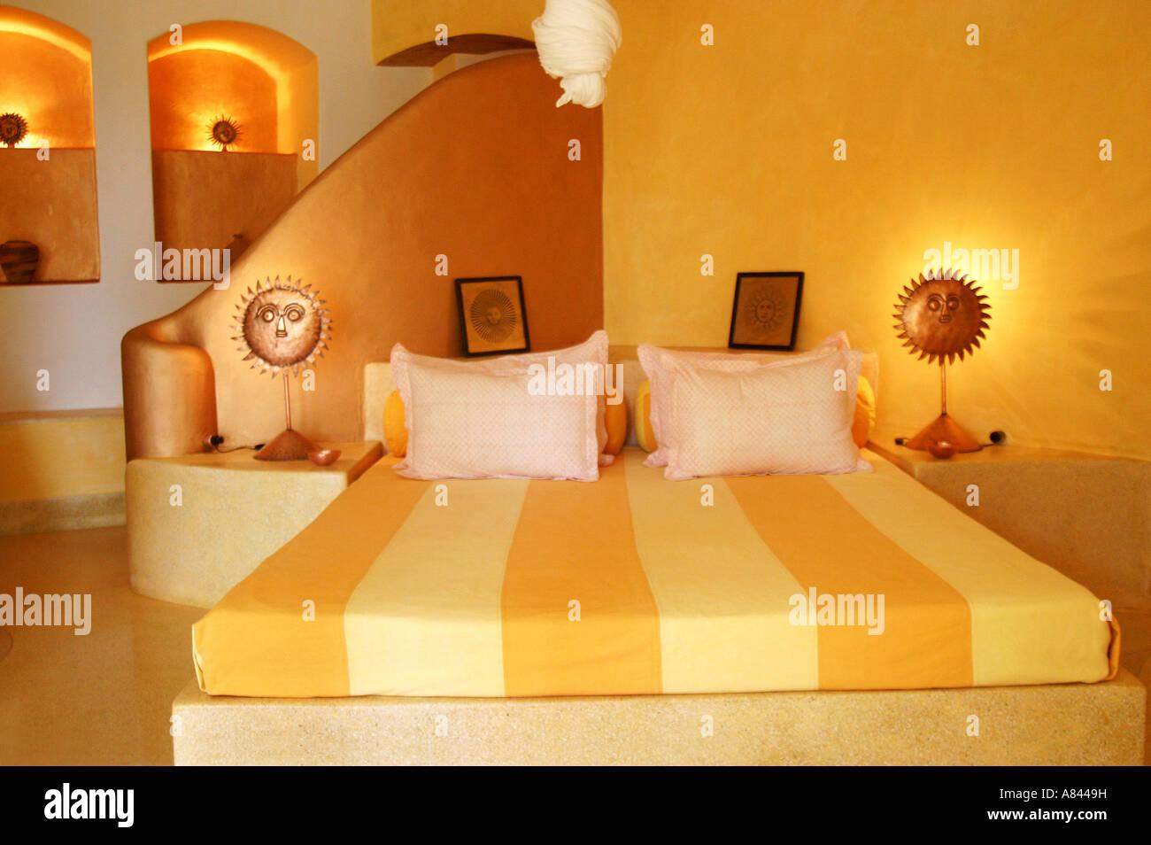 Spettacolare SUN bedroom suite designer Nilaya Hermitage boutique hotel in Goa in India Immagini Stock