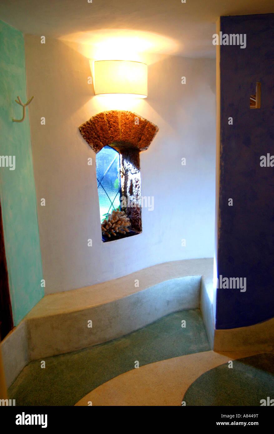 Dettaglio della finestra nella spettacolare progettato Nilaya Hermitage boutique hotel in Goa in India Immagini Stock