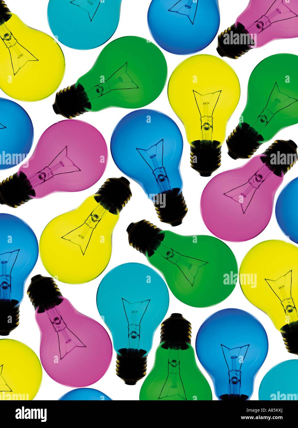 Lampadine colorate Immagini Stock