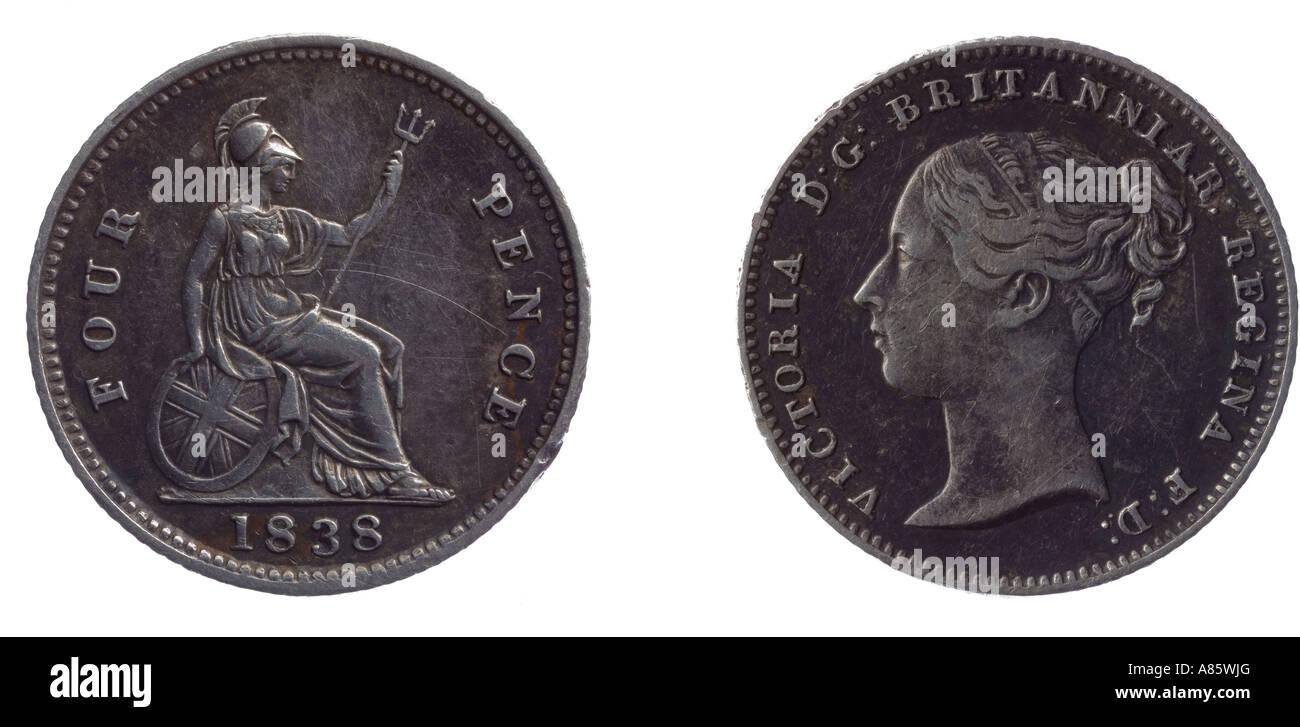 1838 Victoria groat moneta 4 pence 4p silver fourpence giovane capo britannia Immagini Stock