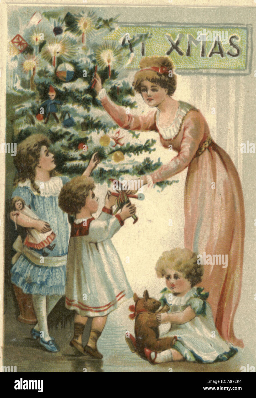 Natale greeting card circa 1900 Immagini Stock
