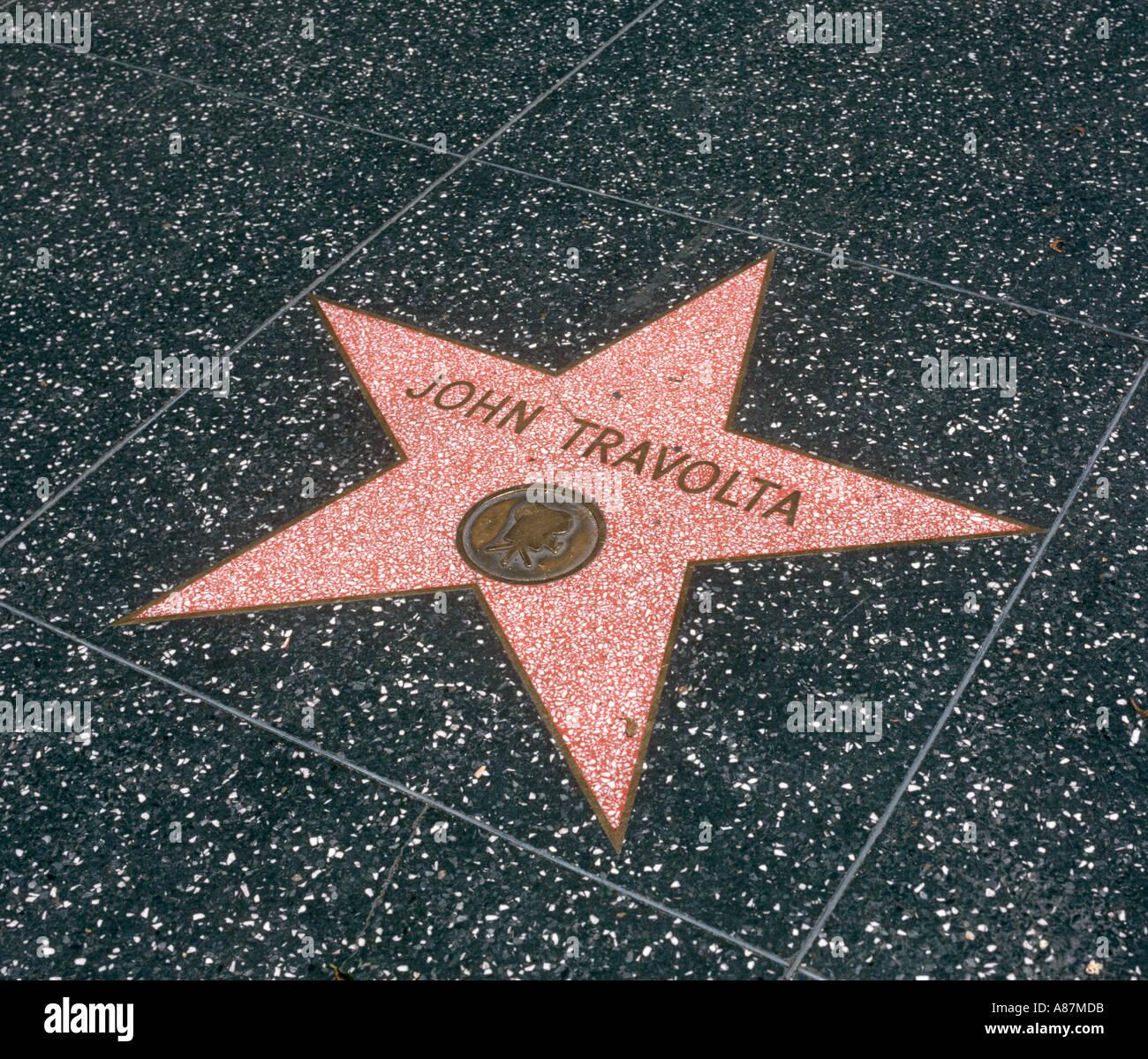 John Travolta stella sulla Hollywood Walk of Fame, Los Angeles, California, Stati Uniti d'America Immagini Stock