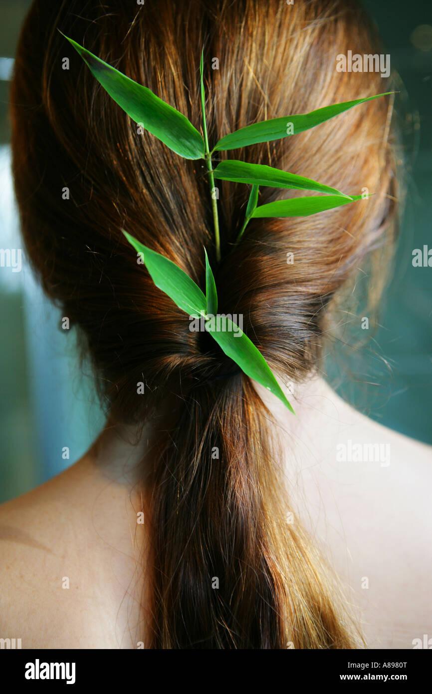 Vista posteriore di una donna con foglie di bambù in her hair Immagini Stock