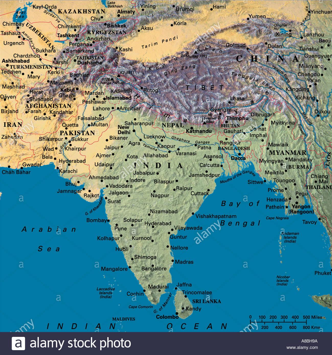 Cartina Dettagliata Del Nepal.Mappa Mappe Asia India Nepal Tibet Foto Immagine Stock 3933593
