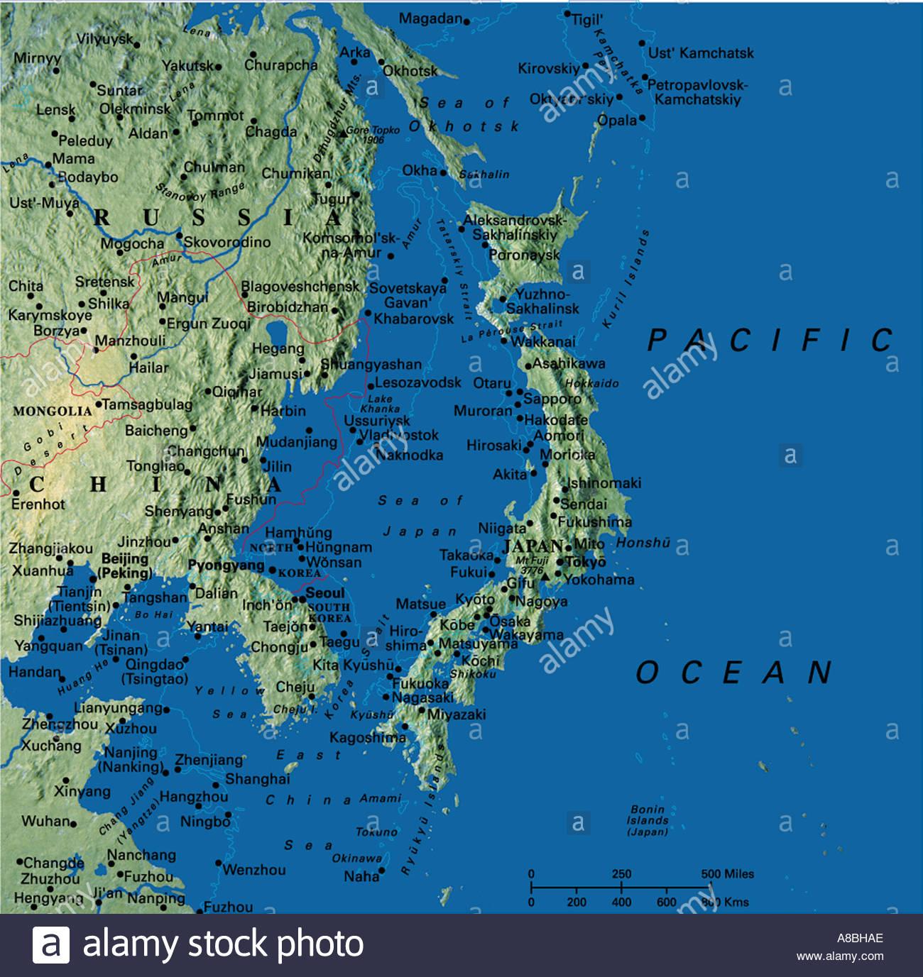 Cina E Giappone Cartina Geografica.Mappa Mappe Asia Giappone Cina Corea Foto Immagine Stock