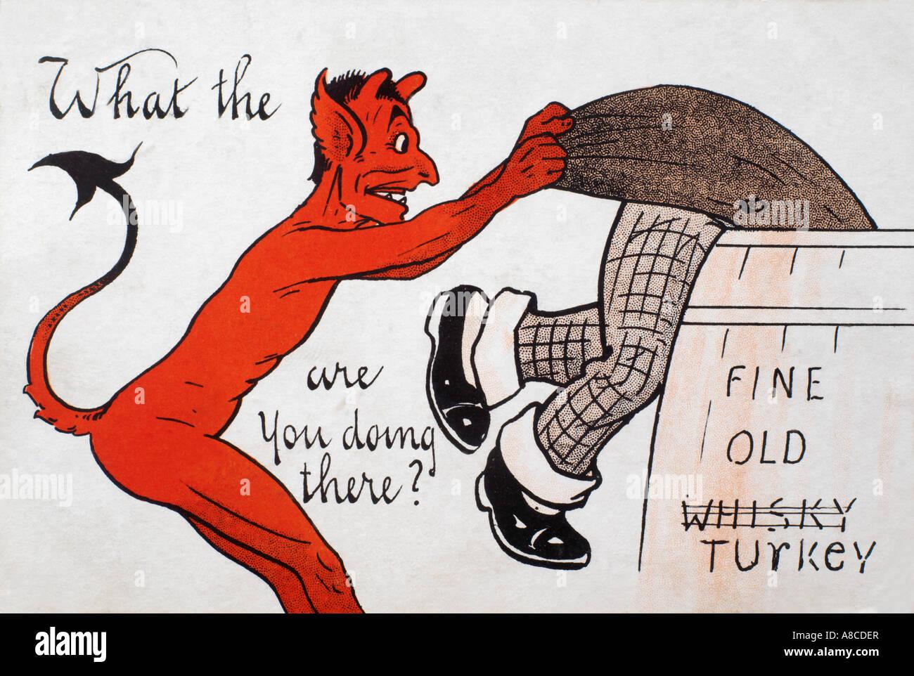 Diavolo Rosso cartolina vittoriano - cosa diavolo stai facendo? Posted in 1906 - Serie Nazionale 307 Immagini Stock