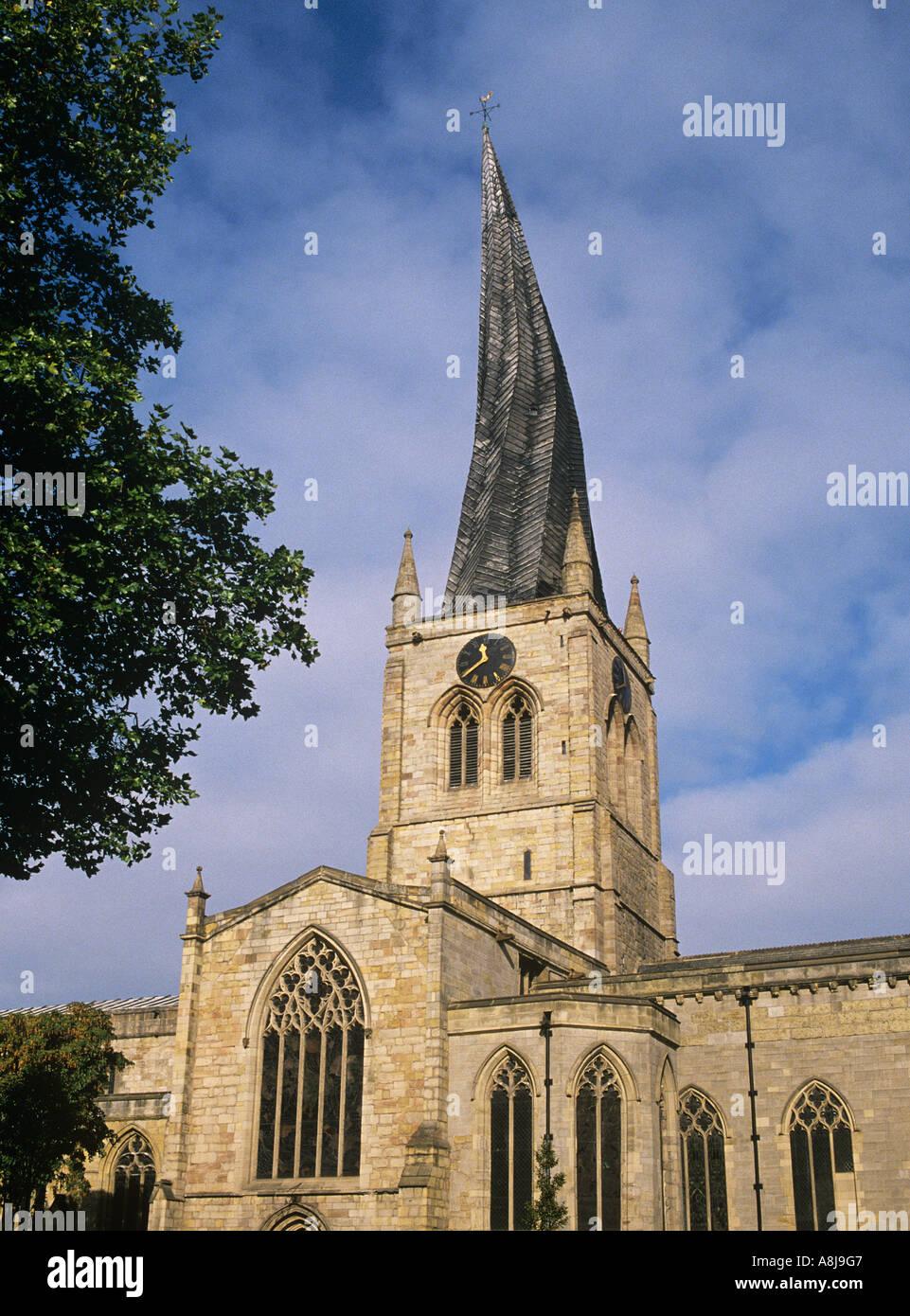 La twisted campanile della chiesa di Santa Maria e di tutti i santi a Chesterfield Immagini Stock