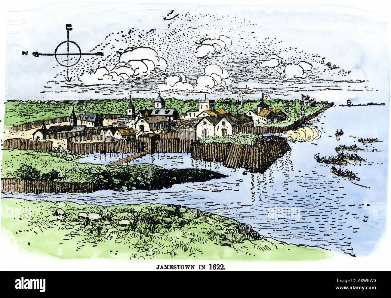 Jamestown fort e insediamento come di 1622 Virginia Colony. Colorate a mano la xilografia Immagini Stock