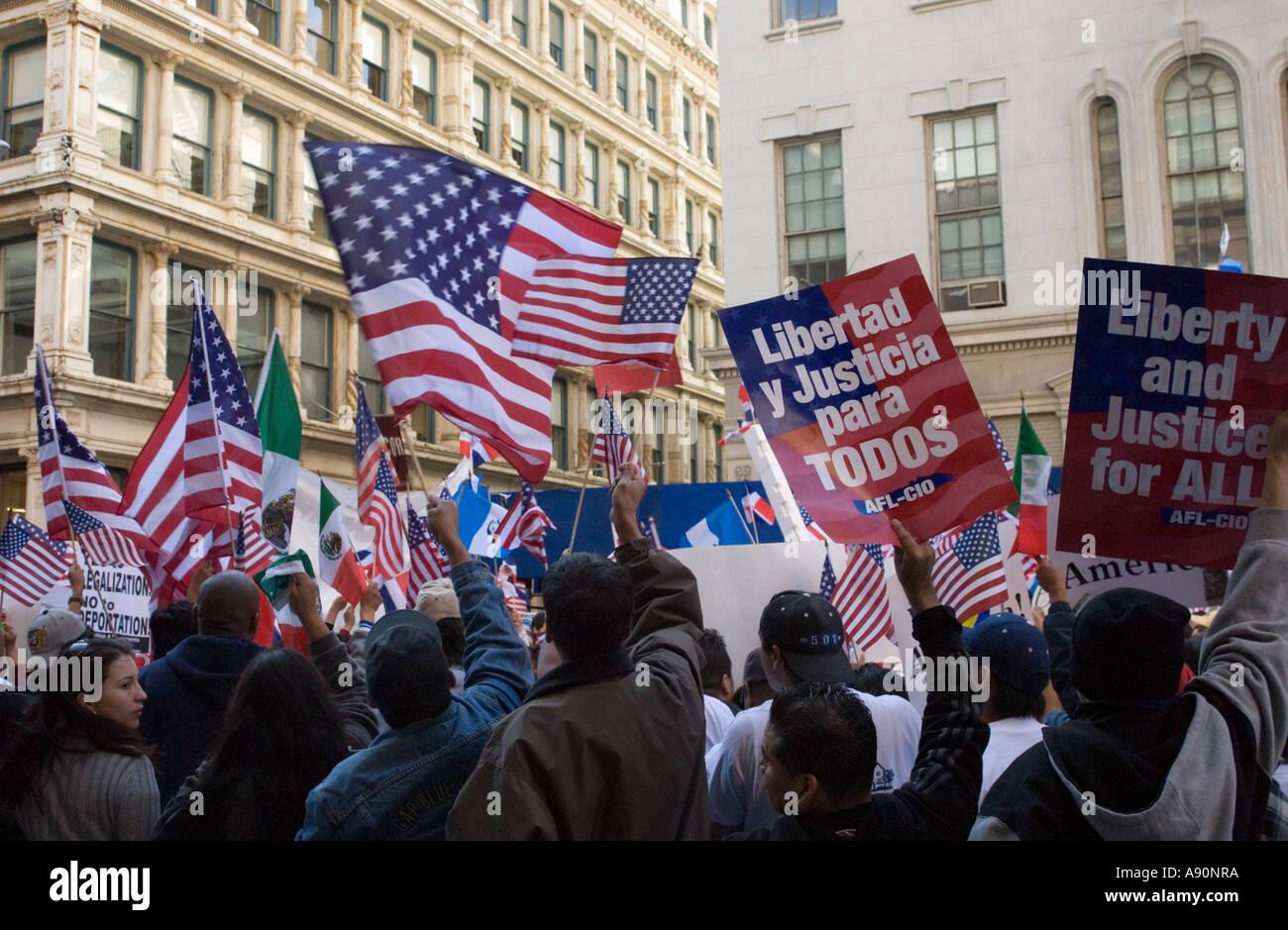 New York Immigrataion Rally in aprile 2006 Immagini Stock