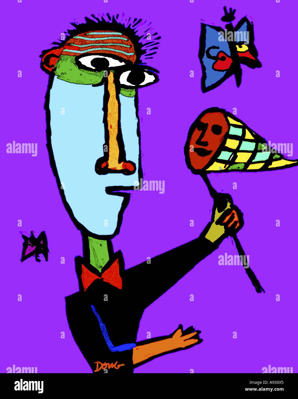 Butterfly Catcher 2001 Diana Ongs (b.1940/cino-americano) Computer grafica Immagini Stock
