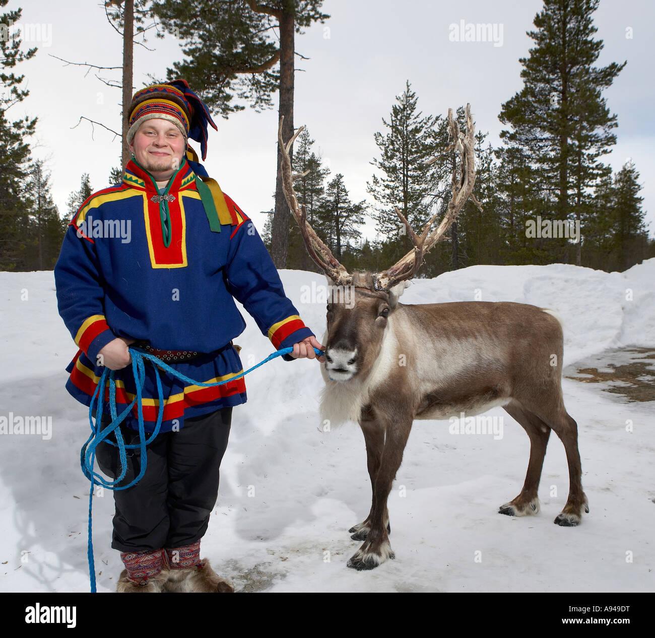 Sami con le renne, Lapponia Finlandia Immagini Stock