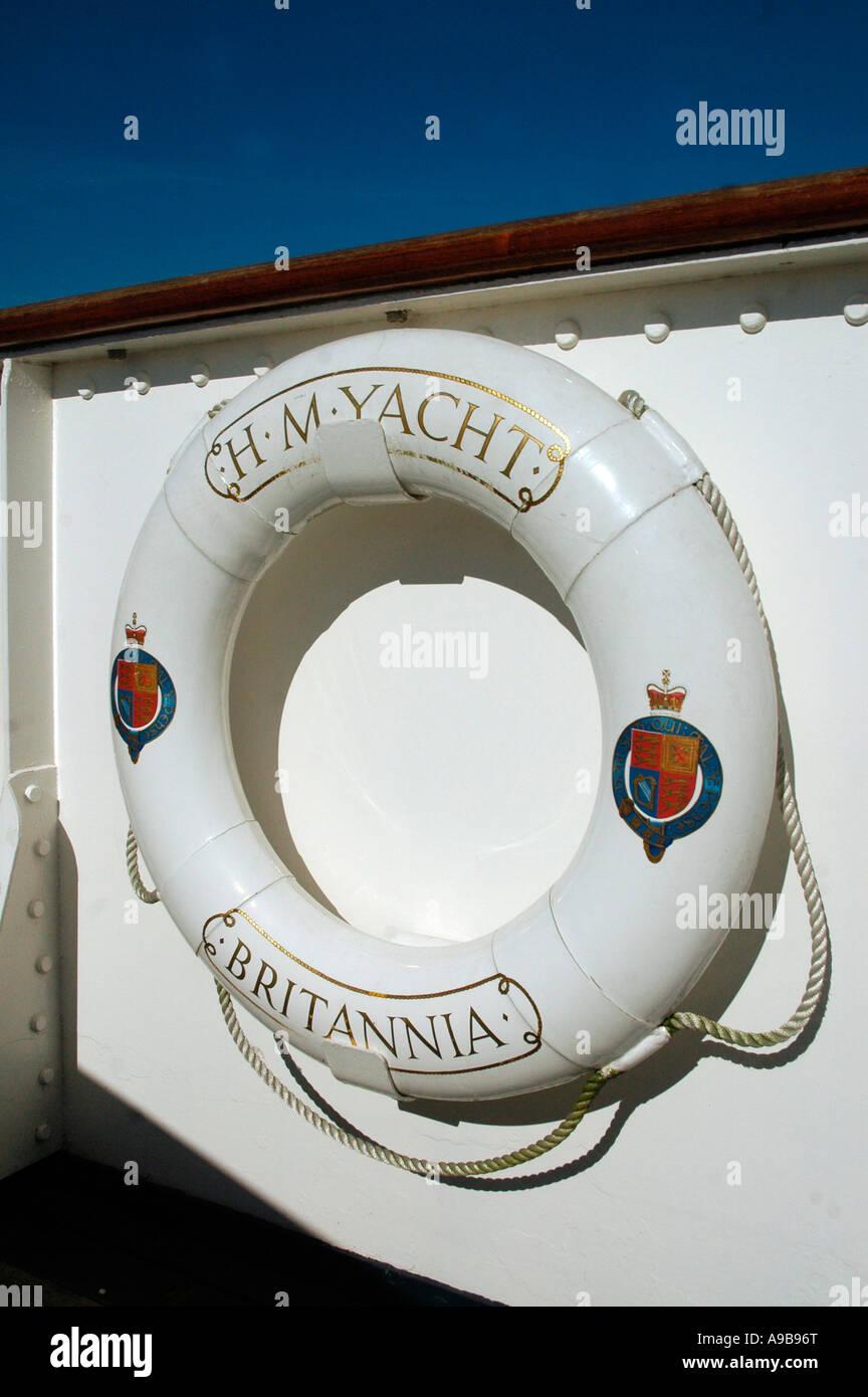 La vita della cinghia sulla Royal Yacht Britannia,Ocean Quay,Firth of Forth , Edimburgo, Scozia, Regno Unito Immagini Stock