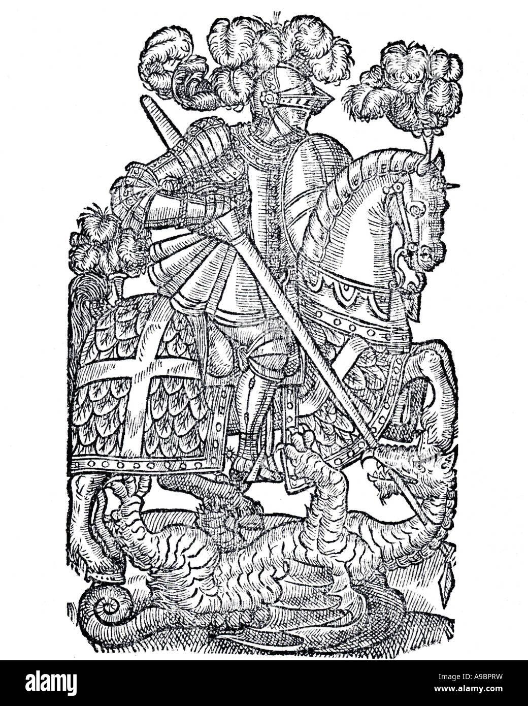 FAERIE QUEENE - xilografia dal 1590 edizione del poema epico da Edmund Spenser Immagini Stock