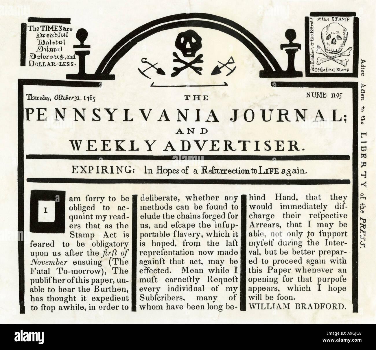 In Pennsylvania ufficiale e settimanale del inserzionista protestando Stamp Act sostituendo un royal timbro fiscale Foto Stock