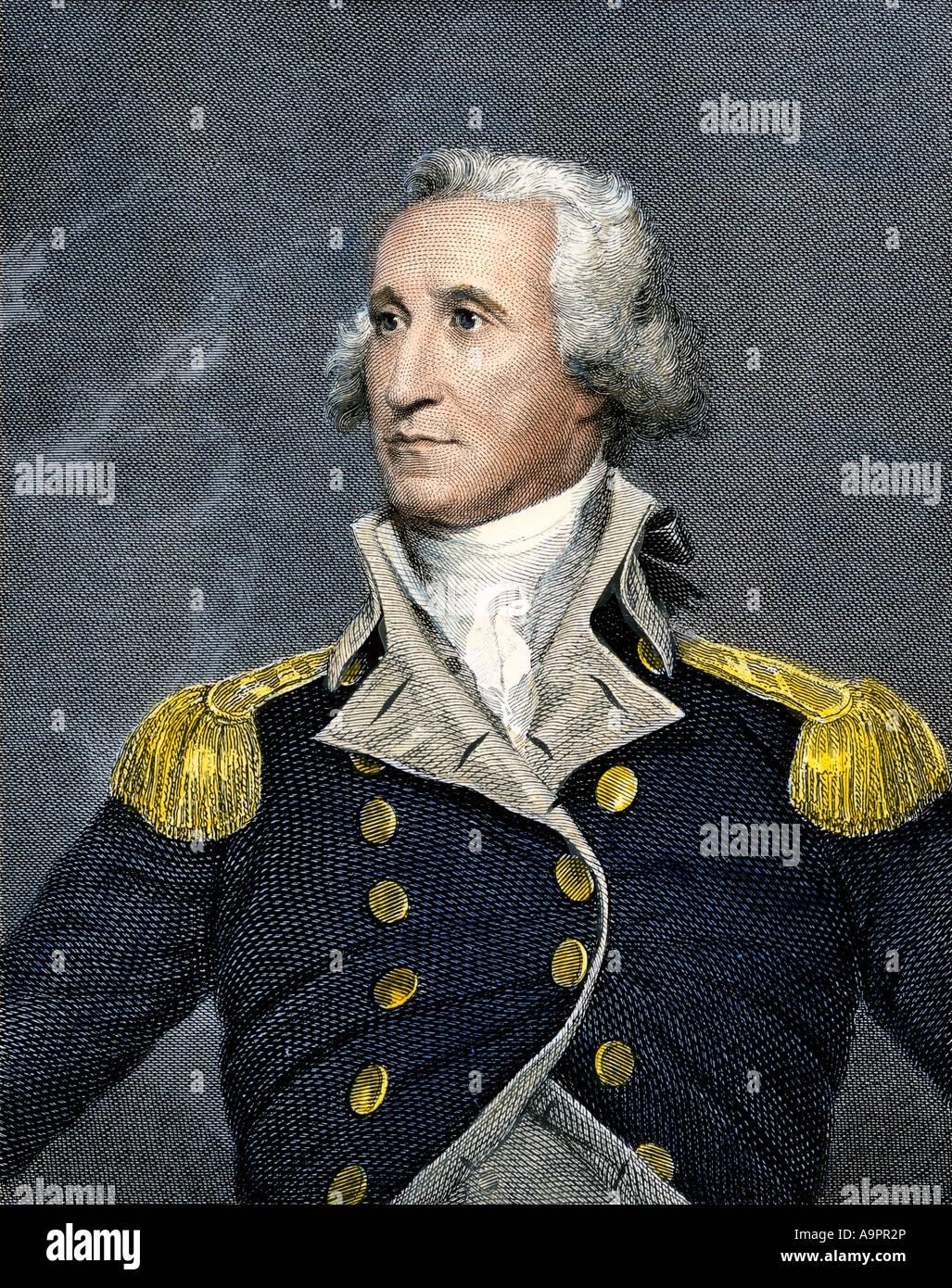 General George Washington. Colorate a mano incisione in acciaio Immagini Stock