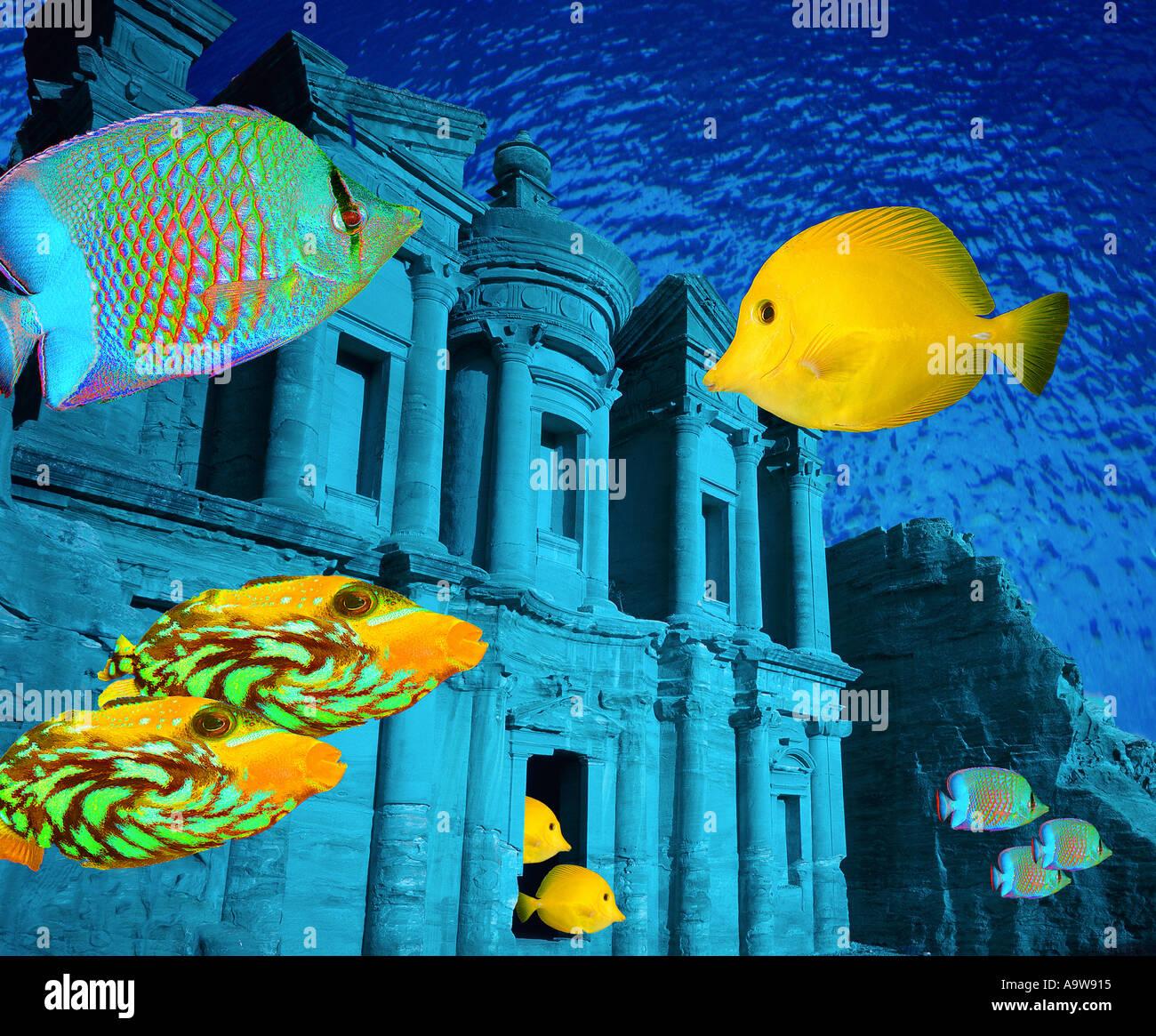 Civiltà subacquea (le rovine di Petra, Giordania) Immagini Stock