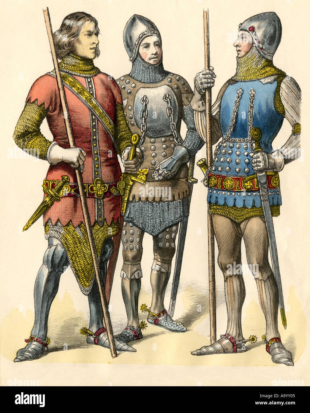 Cavalieri tedeschi in armatura da 1300, 1315 e 1360. Colorate a mano la stampa Immagini Stock