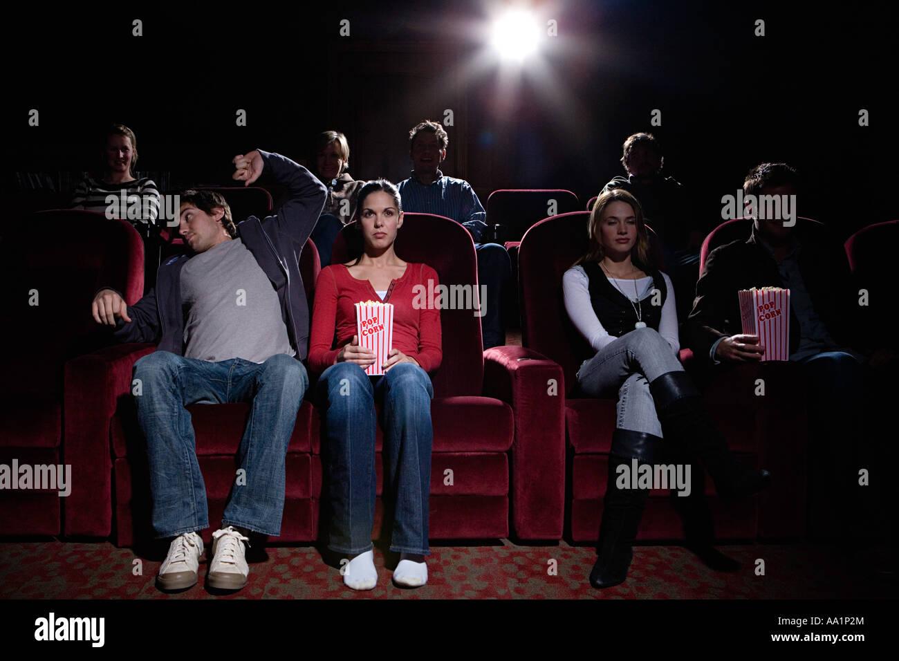 La gente al cinema Immagini Stock