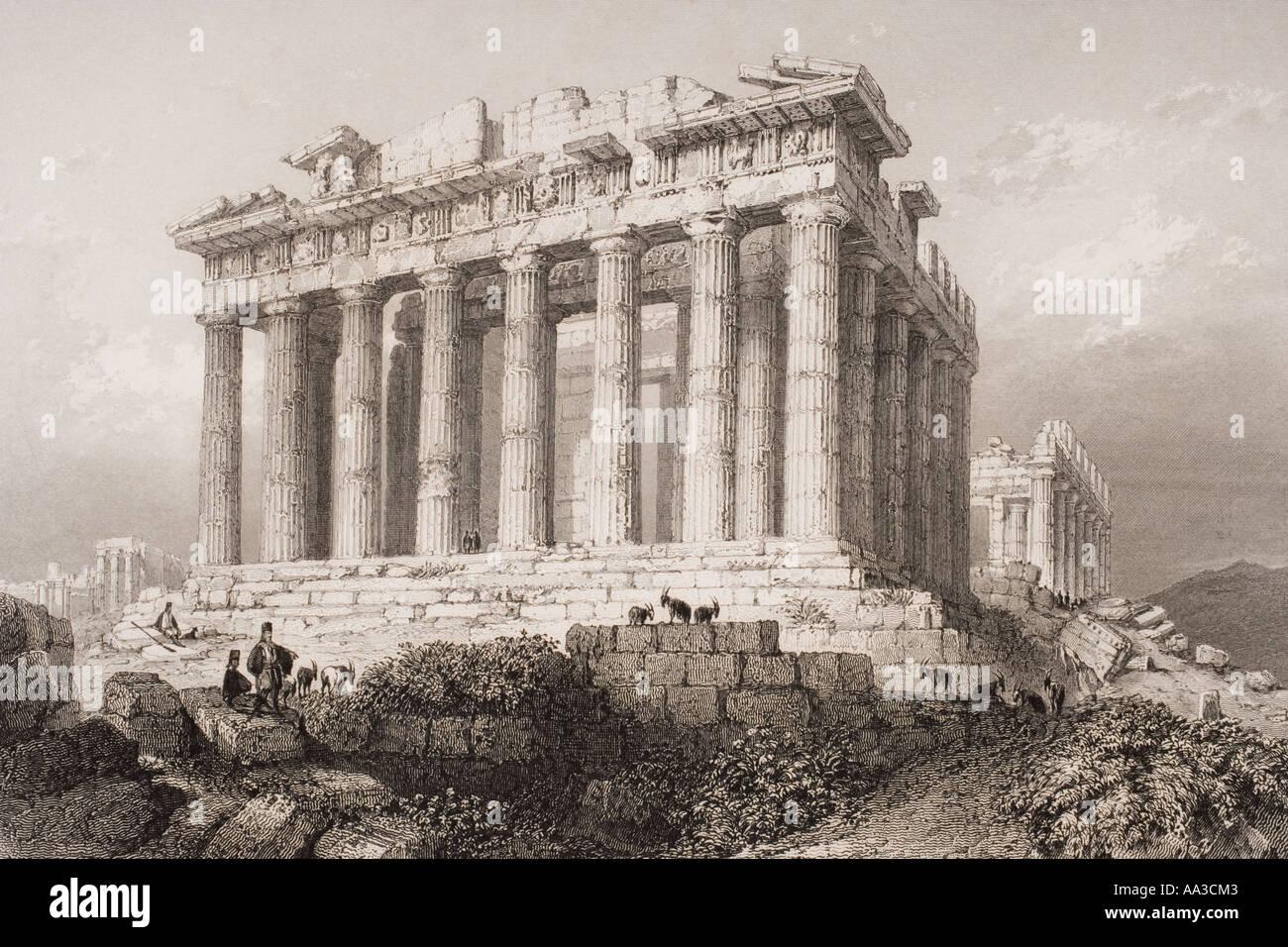 Il Partenone di Atene, Grecia nel XIX secolo. Immagini Stock