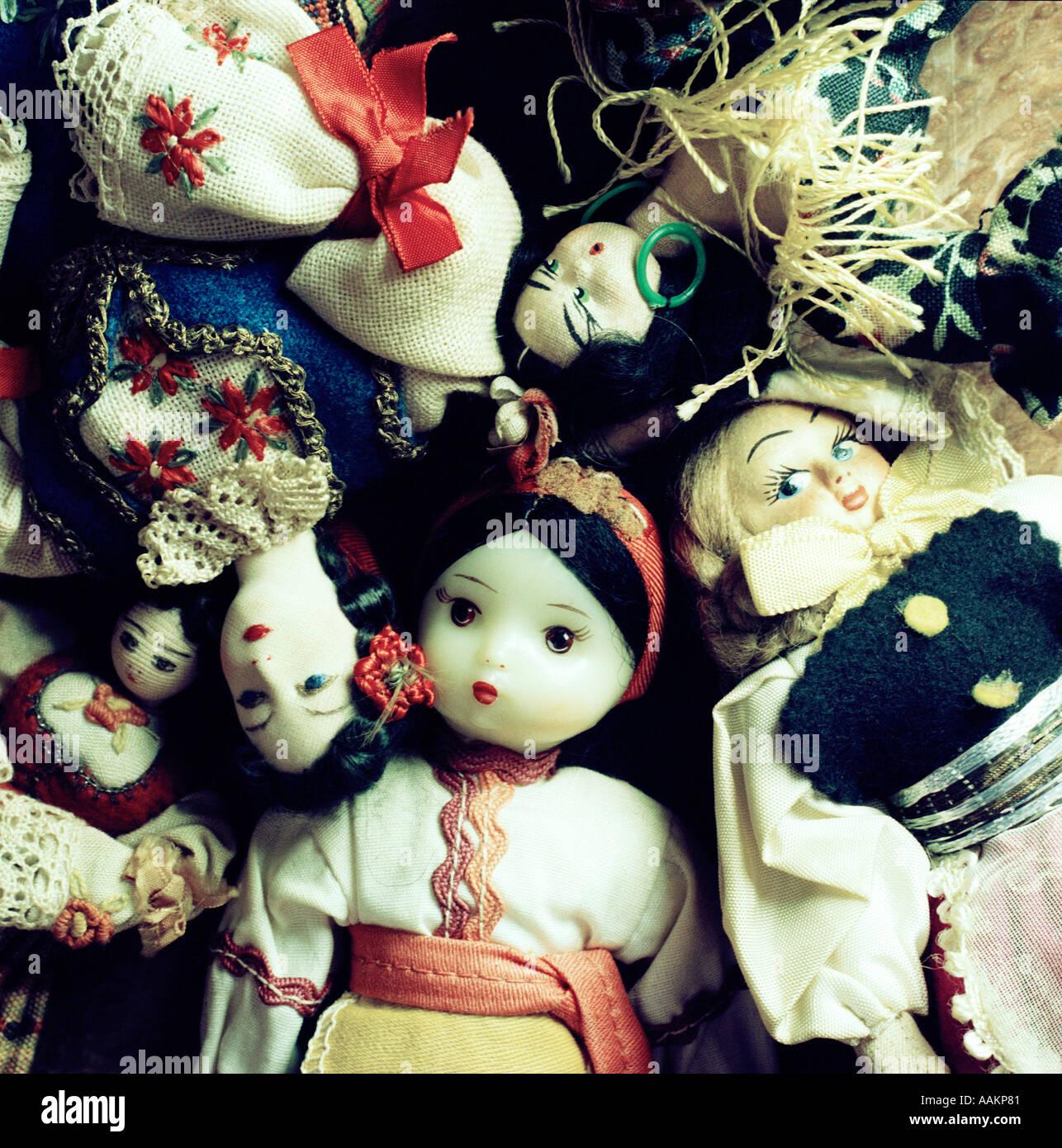Bambole etniche Shot dal di sopra Immagini Stock