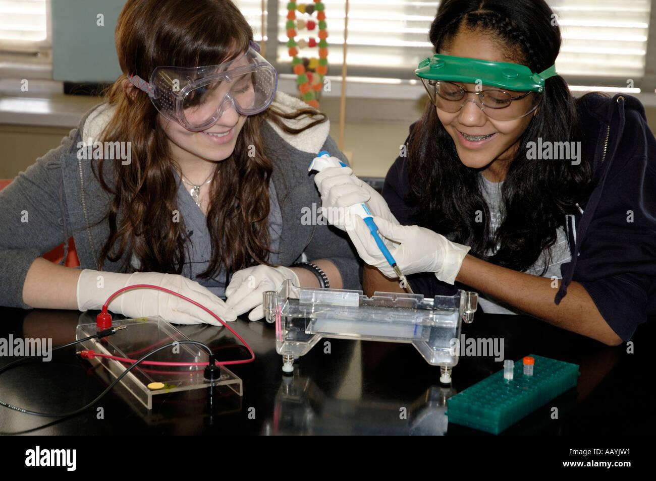 Ragazze e caucasica ispanica, carico campione di DNA in un gel per classe di biologia scienza esperimento Immagini Stock