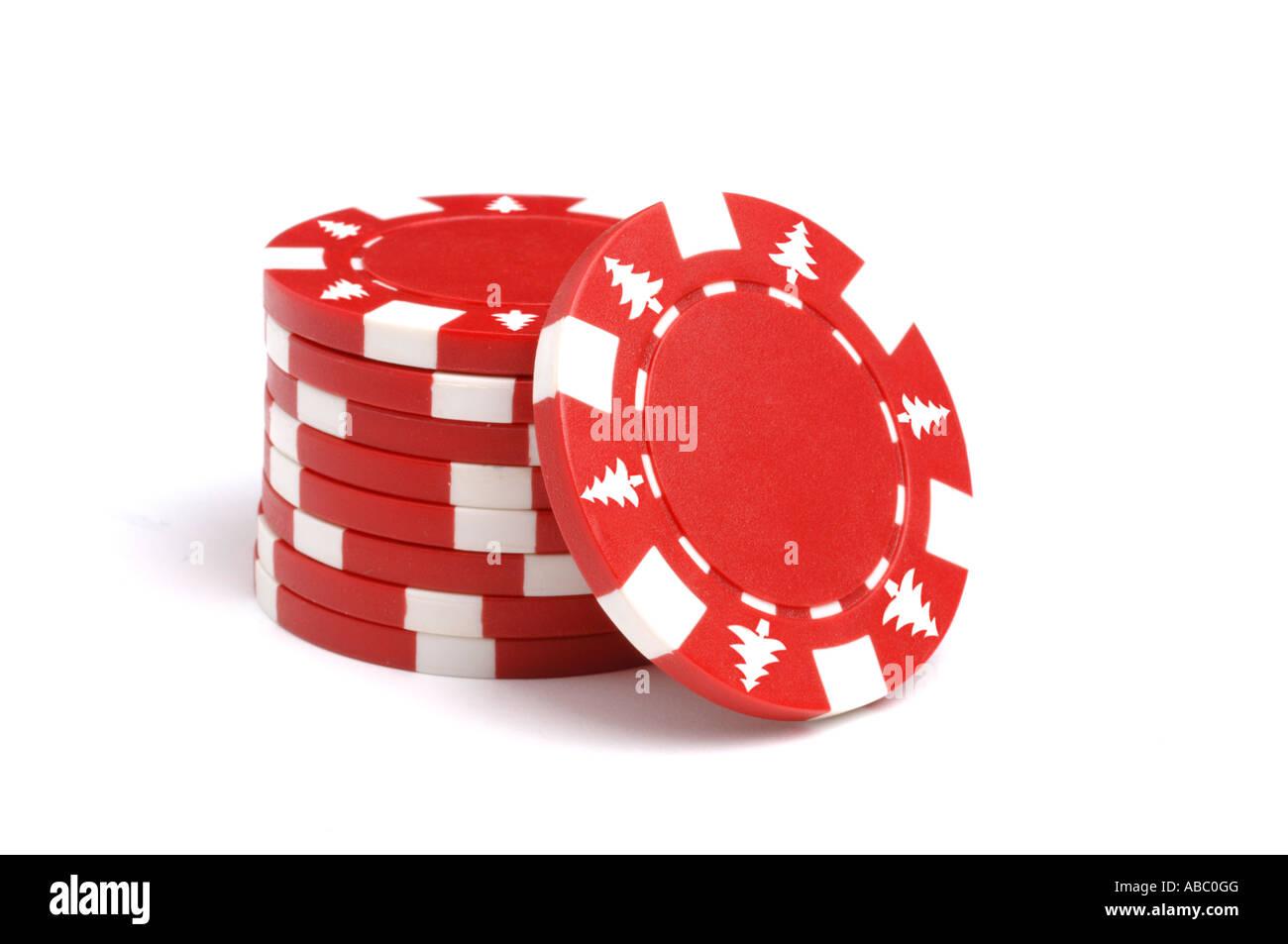 Red poker chips con albero di Natale iscrizioni Immagini Stock