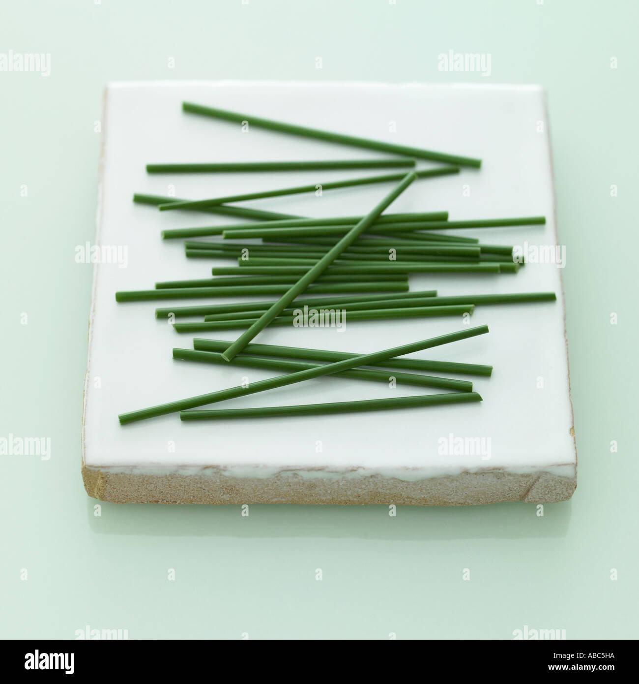 Erba cipollina - uno di una serie di simili immagini di erbe Immagini Stock