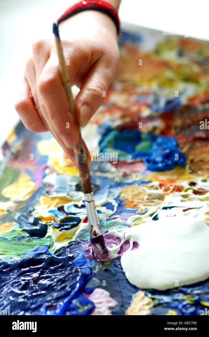Dipinto con colori acrilici Immagini Stock