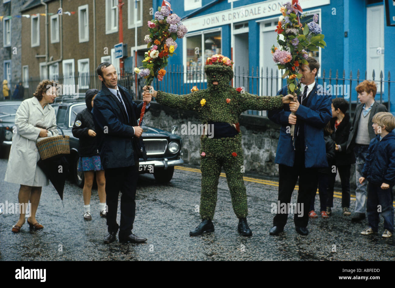 Il Burryman South Queensferry Regno Unito Scozia HOMER SYKES Foto Stock