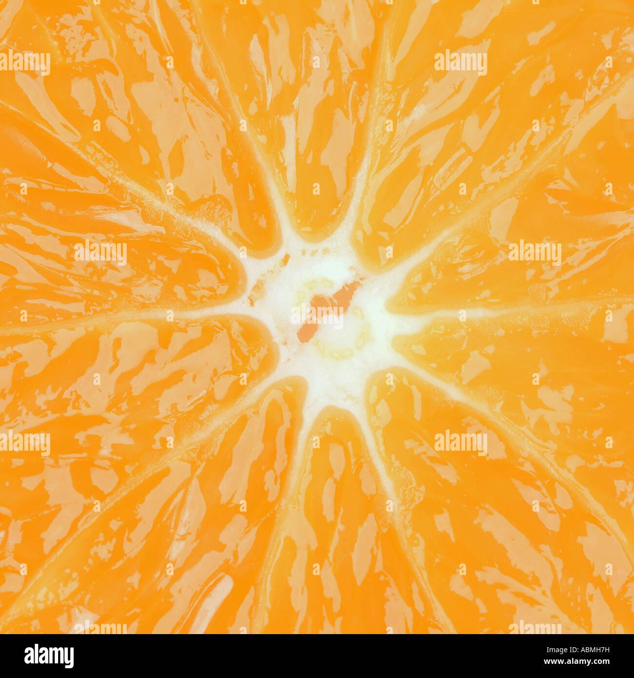 Ripresa macro di una fetta d'arancia formato quadrato Immagini Stock