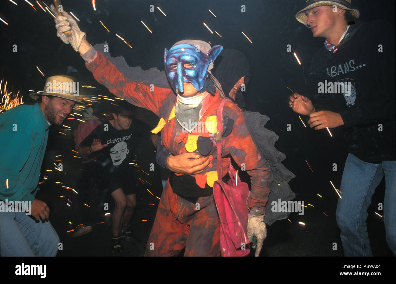 Correfoc Festes d'Olot Catalogna Immagini Stock