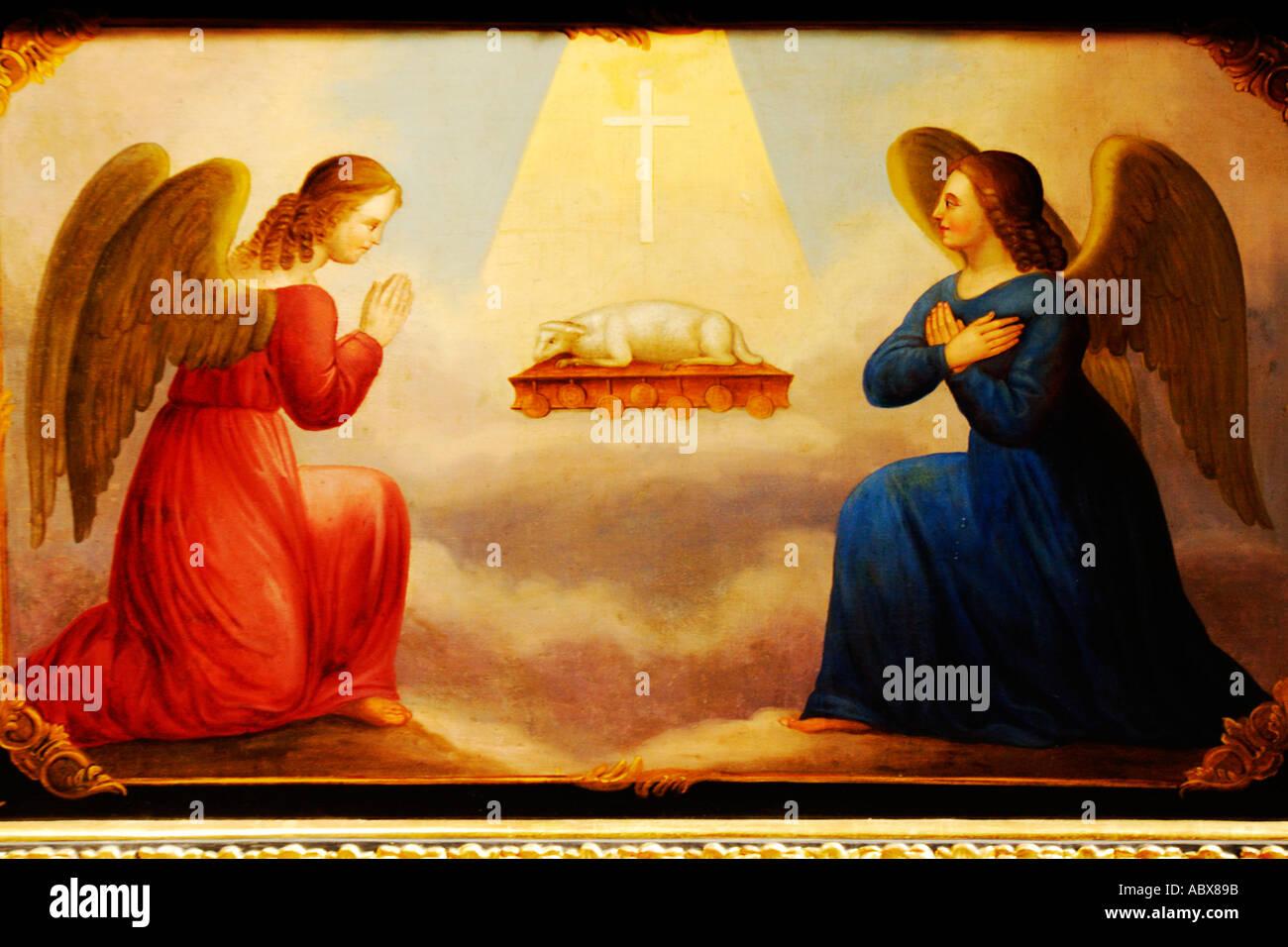 L'arte religiosa, Pittura dell'Annunciazione Immagini Stock