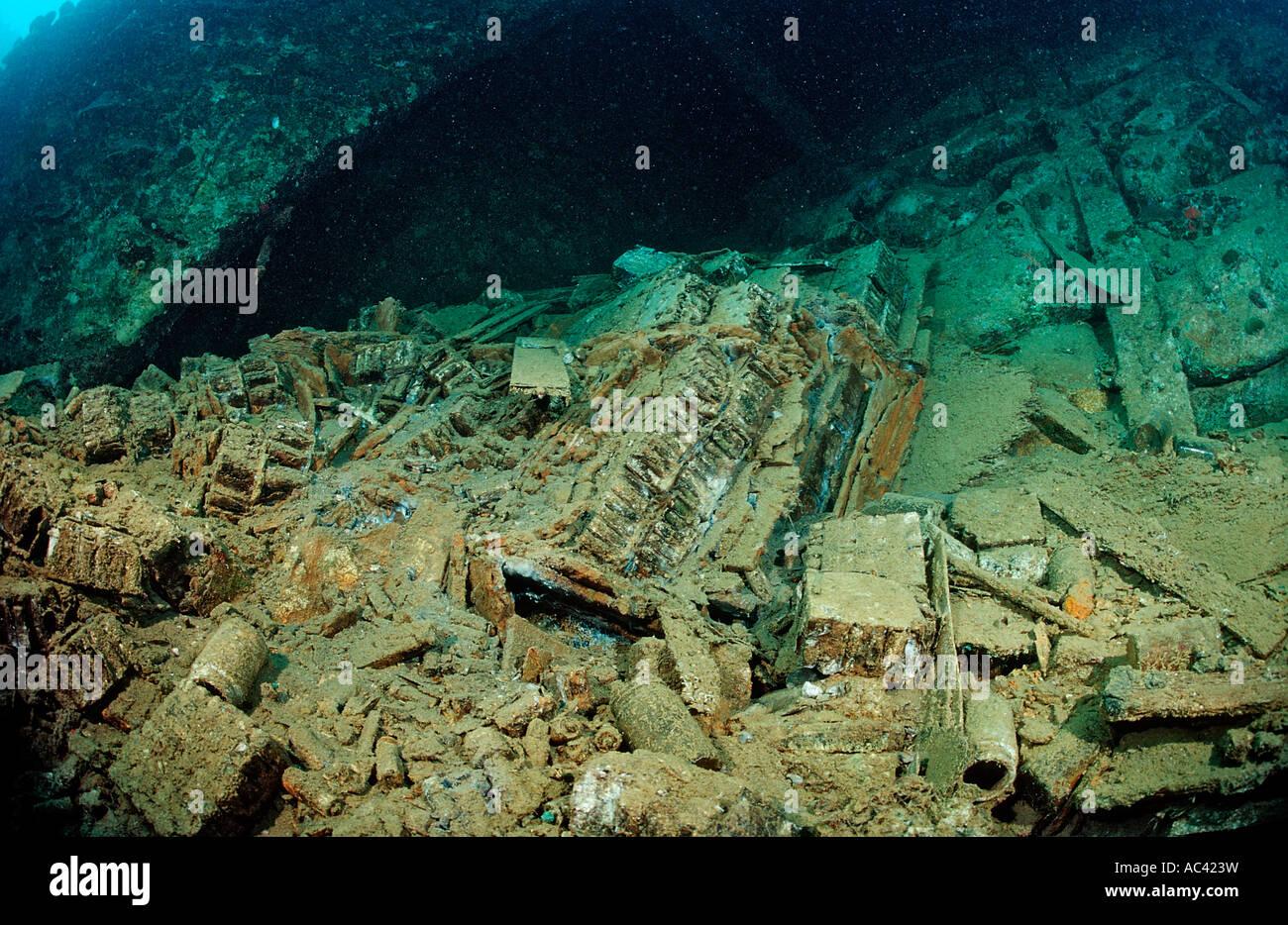 Le munizioni in Umbria naufragio Africa Sudan Red Sea Wingate Reef Immagini Stock