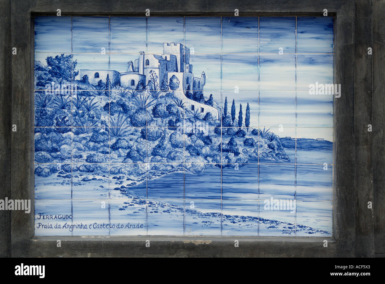 Ceramiche piastrelle smaltate placca immagine blu bianco paesaggio