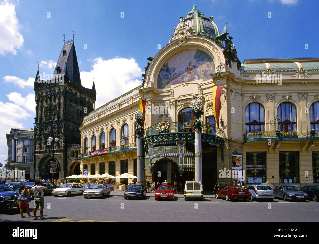 Casa Municipale Mucha Dum a Praga Repubblica Ceca Immagini Stock