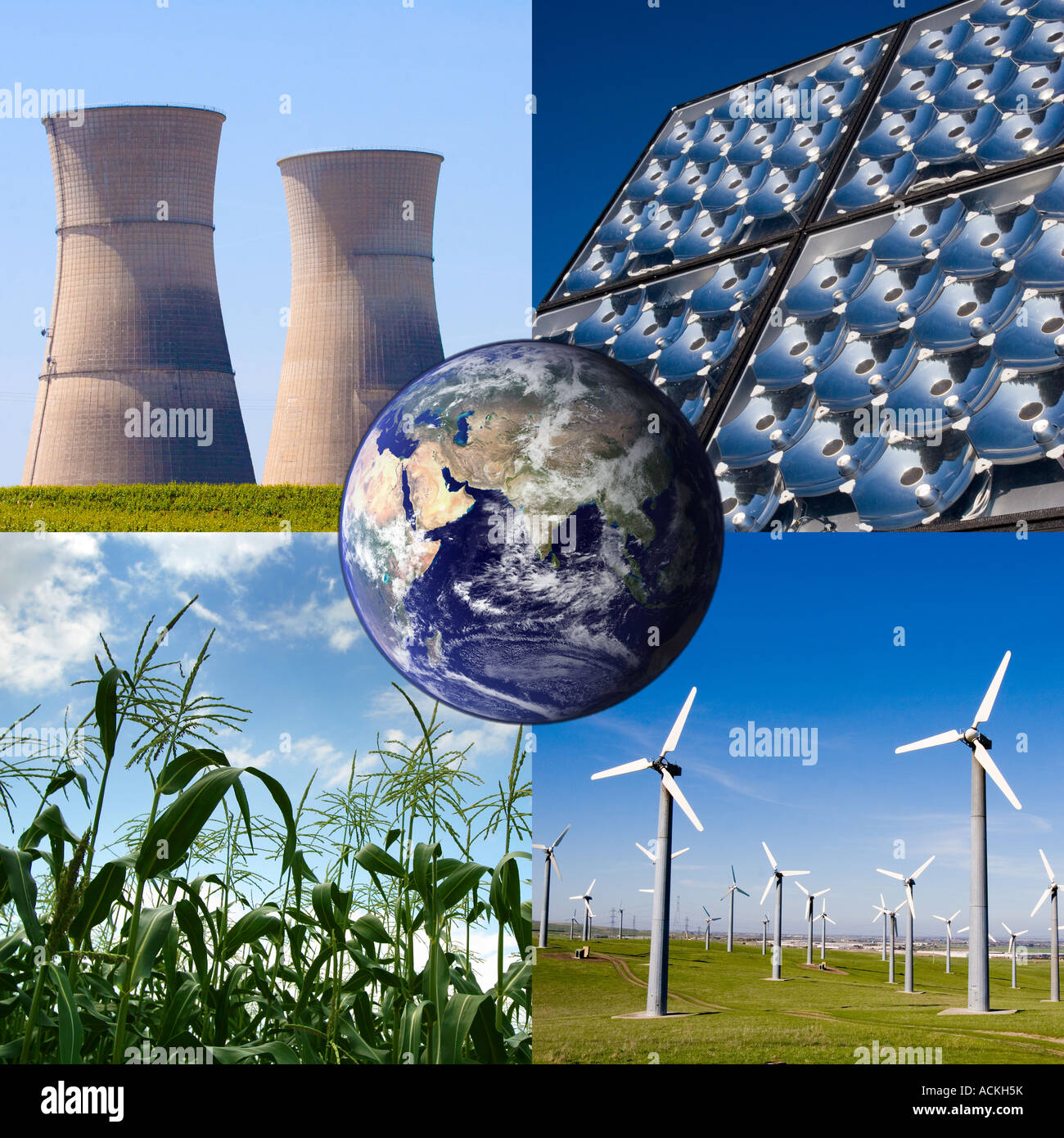 Immagine composita della terra circondata da quattro tipi di fonti alternative di energia del vento solare nucleare Immagini Stock